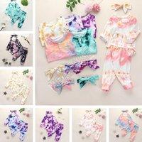 Sonbahar Çocuk Bebek Giysileri Kravat Boyalı 3 Parça Setleri Bodysuits Uzun Kollu Romper Üst + Pantolon + Bantlar Kıyafetler Çocuk Butik Giyim D82506