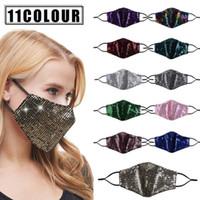 Pailletten Masken Designer Gesichtsmaske Staubdichtes Mode wiederverwendbare Masken atmungsaktive Outdoor-Sonnenschutz Adult Protective Gesicht Mundschutz FWD1026