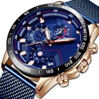 Moda Relojes para hombre Top Reloj de pulsera Reloj de cuarzo Reloj Azul Reloj Hombres Impermeable Cronógrafo Relogio Masculino