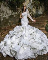 Luxe Ruffles sirène robes de mariée Plis Une chapelle Shoulder train magnifique Robes de mariée Nigerian arabe Robe mariage Robe de mariée
