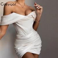 COSYGAL Encolure Robe drapée sexy robe blanche femmes Backless été moulante Mini Party élégant Slim Nuit Robes Club Wear
