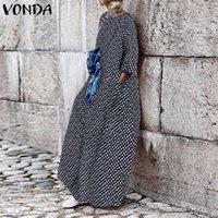 VONDA manera se viste 2020 mujeres Maxi vestido más del tamaño Vestidos Fiesta Vestido de tirantes atractiva bohemia de la llamarada de la manga elegante Robe Femme 5XL
