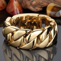 Top polido tom de ouro de aço inoxidável 316L Curb cubana Chain Link Bracelet Jóias 32 milímetros de Homens Pesado Ampla