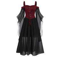 Günlük Elbiseler Vintage Gotik Kadınlar Cadılar Bayramı Elbise Artı Boyutu Dantel Yukarı Kapalı Omuz Prenses Ortaçağ Cosplay Kostüm Kelebek Kollu Elbise #