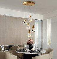 Nouvelle vente escalier entièrement en cuivre lustre à LED lumières atmosphère lumière pendentif en cristal de luxe lampes immeuble duplex escalier en colimaçon hall