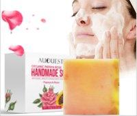 도매 AuQuest 파파야 로즈 핸드 메이드 에센셜 오일 비누 공장 비누 세안 비누 도매 목욕 OEM