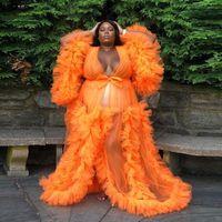Orange Schwangere Frauen Nachtgewebe Hochzeit Braut Brautjungfer Roben Seiden Satin Spitze Nachtwäsche Pyjamas Lange Wäsche Braut Party Dusche Robe