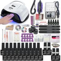 Súper Sistema de manicura para el kit de uñas con Herramientas de perforación de la lámpara del clavo del LED 20000RPM kit de la máquina del arte del polaco de acrílico Set