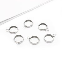 30pcs Stainless Steel Charms 8mm 10mm Round Blank Tray Bezel...