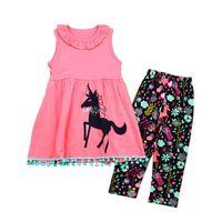 Baby girls unicorn Printed outfits cartoon Children Vest dress top+pants 2pcs set 2018 new Kids Clothing Sets C3732