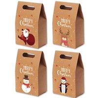 Noel Hediyesi Çanta Noel Vintage Kraft Kağıt Elma Şeker Vaka Parti Hediye Çanta El Paketi Dekorasyon Parti Favor Malzemeleri Sarılmış LJJP427