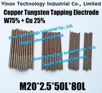 (5PCS ПАК) М20 * 2,5 * 50L * 80Lmm CUW75 Меди вольфрам Орбитальный Выявляющий Электрод для EDM искры, EDM W75 вольфрам медного электрода конусности M20