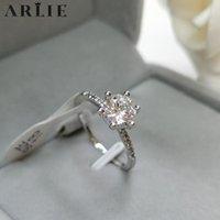 ARLIE manera clásica 4/6 de la garra circón anillos de bodas para las mujeres del partido de compromiso de la astilla de cristal del color del anillo de la joyería nupcial regalo