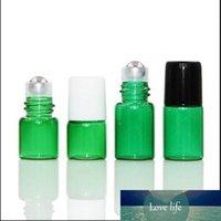 1 ml 2ml zielony eteryczny butelka oleju mini maleńka refillable puste aromaterapia perfume Płynna bursztynowa rolka na butelkach fiolki metalowe rolki rolkowe