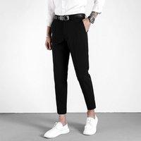 تناسب الأعمال التجارية بنطلون جينز رجالية الصلبة اللون سليم ودقيق نقطة سروال تسعة ملابس رجالية مكتب الخريف بدلة عادية السراويل بارد