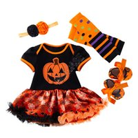 Halloween Baby Girls Ropa Set Designers Mampers Tutu Vestido + Diadema + Kneepad + Zapatos Traje Halloween Niños Potes Nieve Calabaza Monumentos D82503
