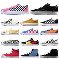 Vans Old Skool sapatos de marca tênis de lona mocassins dos homens e das mulheres de baixo-top sapatos casuais ao ar livre de fundo planas tamanho preguiçoso 36-44