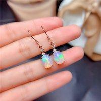 LeeChee Опал серьга падения для женщин Anniversary подарков 8 * 10MM Nautral многоцветного Fine Jewelry Real 925 стерлингового серебра