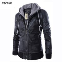 Jaqueta de Couro Slim Fit Com Capuz Biker Jackets Man Black PU Faux Leather Coats with Hooded Men's Jackets and Coats