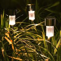 12 개 정원 야외 스테인레스 스틸 잔디 램프 태양 주도 야외 조명 풍경 가로등 코트 야드 램프 화이트 라이트