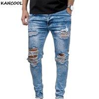 Jeans pour hommes Kancool Hommes arnaqués pour hommes Casual Black Bleu Skinny Fit Denim Pantalon Denim Biker Hip Hop Hop avec Holel sexy