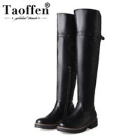 TAOFFEN 2020 Hot Sale 6 Color Women Over Knee Boots Fashion Boots Zipper Flats Daily Shoes Woman Mujer Footwear Size 34-43