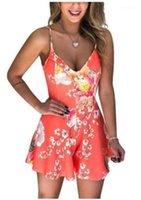 StrapRompers عالية الخصر مثير العميق الخامس الرقبة السباغيتي عارضة مصمم أنثى الملابس الصيفية المرأة حللا فلورا مطبوعة