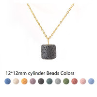 12*12mm cylinder Lava Stone Bead Necklace Aromatherapy Essen...