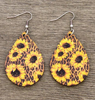 Sunflower Leopard water- drop earrings Hot sale leather Sunfl...
