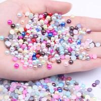 Half ronde parels edelstenen 5000 stks 5mm kleuren ronde plaksteen imitatie lijm op hars kralen diy ambachten nagels kunst decoratie