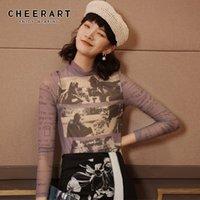 T-shirt Femme T-shirt Cheadart Mesh Mesh Top Top Turtleneck Voir à travers la lettre T-shirt imprimé Transparent Purple Graphic T-shirts Fashion