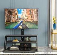 US STOCK mobili neri Multi-Function angolo e l'altezza regolabile in vetro temperato Porta TV Living Room Furniture W24104953