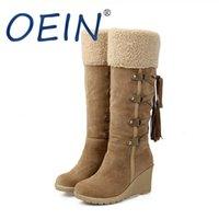 Botas Oein Neve 2021 Mulheres Sapatos de Inverno Quente Algodão Frio Ladies High Senhoras Wedge Heels 7cm Plus Size 43