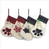 Рождество носки Рождество собак Pet плед Paw Stocking Снежинка Printting висит кулон Камин Xmas Tree Рождественские украшения LSK1059