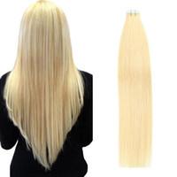 # 613 Menschliches Haarband in Erweiterungen Europäische Nahtlose PU-Haut-Schussfäster 16-24 Zoll Blondine 100% Remy-Haar 20pcs doppeltes seitliches Band