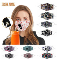Adulti Cotton Maschera maschera bere con foro per Straw lavabili riutilizzabili antipolvere mascherina mascherine Bocca esterna di copertura maschere Designer FY6091