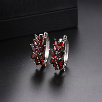 Hoop Huggie Earrings Pear Red Natural Gemstone Garnet Solid 925 Sterling Silver Women's Fashion New Jewelry Gifts Elegant Wedding Lady Party