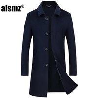 Erkek Yün Karışımları Aismz Kış% 70% Çift Taraflı Kaşmir Palto Ceket Kaban Erkekler Iş Rahat Tek Casaco Masculino Göğüslü Uzun Co