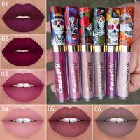 El nuevo maquillaje CmaaDu Mate 6 colores del lápiz labial líquido a prueba de agua y de larga duración cráneo Tupe Barras de labios Lip Gloss Maquillaje