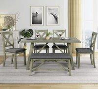 US STOCK 6 Stück Grau Esstisch Set Holz Speise- und Stuhl Küchentisch Set mit Tisch Bank und 4 Stühle Rustikaler Stil SH000109AAE