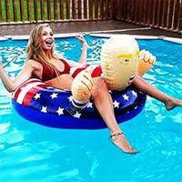 2020 선거 트럼프 수영 반지 풍선 수레 거 대 한 두꺼운 서클 플래그 여름 풀 파티에 대 한 재미있는 수영 링 플로트 D81712