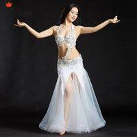 per la danza orientale abbigliamento professionale di ballo di usura Belly 2 pc / 3pcs Costumi rilievo reggiseno Cintura Skirt Set Women