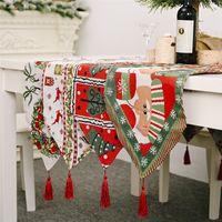 Drapeau Nappe de Noël Nouvel An Décoration d'intérieur napperon Elk arbre de Noël Décorations de table imprimés pour la maison