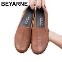 BEYARNESoft leisure flat shoes woman leather shoes moccasins mother loafers casual woman driving Ballet women casual