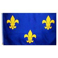 Goedkope prijs Franse lelie bloem vlag 3x5ft, 100D polyester afdrukken stof reclame vlaggen banners, gratis verzending, aangepaste 3x5ft vlaggen