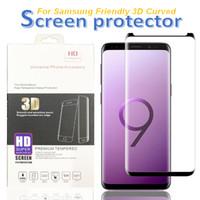 삼성 갤럭시 S20 S10 S8 S9를 위해서는 10 플러스 9 스크린 프로텍터 9H 3D 곡선 유리 보호 친화적 인 케이스