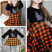 ملابس أطفال مصمم هالوين كم طويل البلوز سترة أزياء منقوشة تنورة الزي الخريف الشتاء فتاة البلوز واحدة اللباس القميص D81205