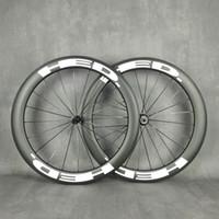 Hed 700c Yol Bisikleti Işık Karbon Tekerlekler 60mm Derinlik 25mm Genişlik Kattığı / Tubeless / Tübüler Bisiklet Karbon Tekerlek 3K Mat Bitirmek