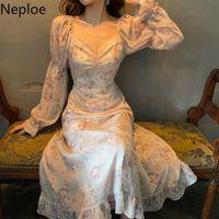 Neploe Floral Print Dress Women Sexy V Neck Puff Sleeve Ladies Vestidos Summer Elegant Slim Waist Female Dresses 1B110 200928