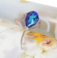 Nueva cristalino brillante pluma broches para las mujeres La boda del Pin del pavo real de joyería de alta calidad 2 colores disponibles